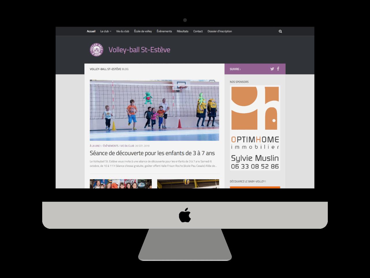 Micraux, nos clients sont nos meilleurs ambassadeurs : vue adaptative sur ordinateur à grand écran pour Volley-Ball Saint-Estève